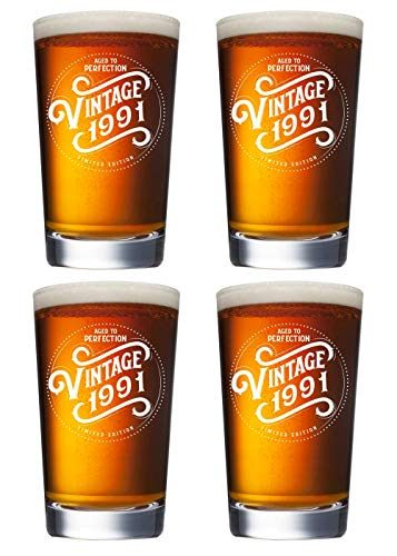 30th Birthday Gift Ideas for Men Women - 1991 Vintage 16 oz Beer Pint Glasses (SET OF 4) - 1991 Birthday Gifts for Men Women - Gifts for 30 Year Old Man Woman - 30th Class Reunion Party Favors Cups