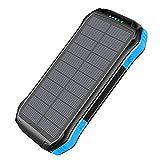 LIERSI Banco De Energía Solar, Cargador Portátil De 16000Mah Carga Rápida De La Batería Externa Cargador De Teléfono Portátil con Salida USB para Teléfonos Inteligentes Tabletas Y Más,Azul