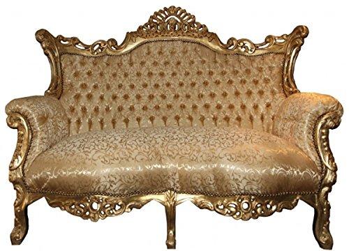 Casa Padrino Barock 2er Sofa Master Gold Muster/Gold - Wohnzimmer Couch Möbel Lounge