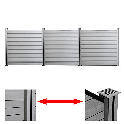 wolketon WPC Sichtschutz Zaun, Aluminium Garten Zaun Höhe 185 cm Grau Wetterfest 3X Quadratisch und 4X Pfosten, für Garten Hof Terrasse
