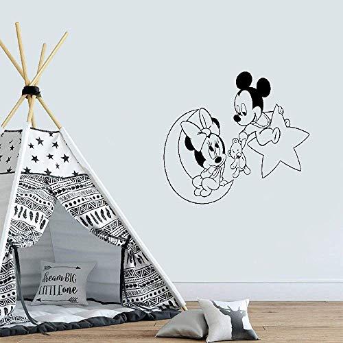 Mickey Mouse Minnie Mouse pared calcomanías pegatinas dibujos animados luna estrella Mickey Minnie Mouse pared calcomanía bebé guardería niños habitación dibujos animados Anime Mickey