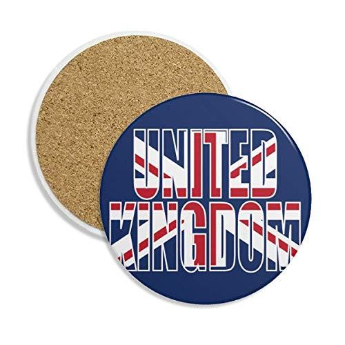 Caneca de porta-copos com nome da bandeira do Reino Unido e pedra absorvente de proteção de mesa