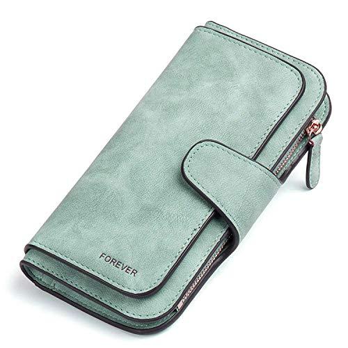 Gr8life Damen Vintage Geldbörse, Lange Portemonnaie mit Große Kapazität, Elegante und Süße Damen Geldbeutel Grün