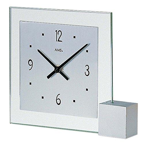 AMS Quarz-Tischuhr, Silber, 19 x 16 x 4 cm