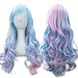 """Straightened Length 27.6"""" Wig Mixed Color Long Curly Wavy Hair Women and Girl Cosplay Party Costume Wig(Blue, Purple)"""