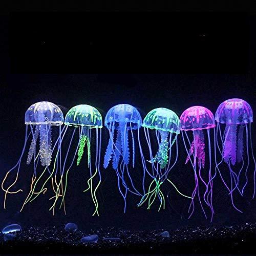 Zelro 6 piezas de adornos artificiales de medusa/acuario, decoración de pecera con efecto brillante realista bajo iluminación actínica, 16,8 cm de largo x 4,8 cm de ancho