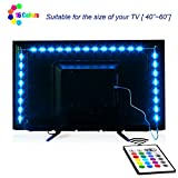 TV-LED-Backlight,Maylit Pre-Cut 6.56ft LED Strip Lights for 40-60in TV,4PCS USB Powered TV Lights kit with Remote,RGB Bias Lighting for Room Decor