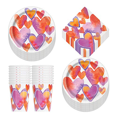 Valentine's Day Watercolor Hearts Paper Dinner Plates, Lunch Napkins, and Beverage Cups (Serves 16)