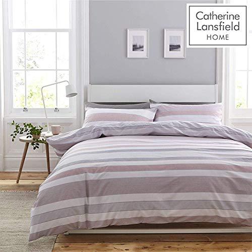 Catherine Lansfield Newquay Stripe Set Copripiumino, Policotone, Rosa, Singolo