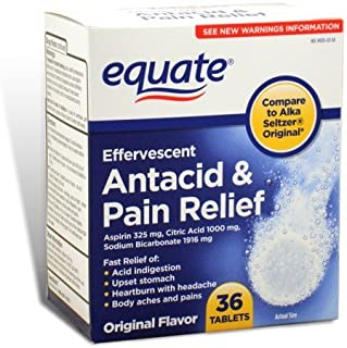 Equate - Effervescent Antacid Pain Relief, 36 Tablets (Compare to Alka-Seltzer) by Equate
