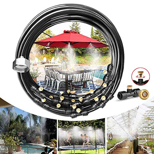 """Misting Cooling System, Pre-Assembled Misting Kit,75FT (23M) Misting Line + 27 Brass Mist Nozzles + a Brass Adapter(3/4"""") Outdoor Mister for Patio Garden Greenhouse Trampoline Sprinkle"""