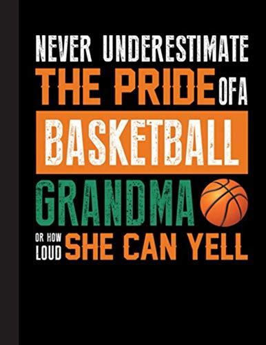 Never Underestimate The Pride Of A Basketball Grandma Notebook: Basketball College Ruled Lined Pages Book. Perfect gift for Basketball Lovers, Students, Teachers (8.5 x 11)
