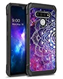 YINLAI Compatible for LG Stylo 6 Case Shockproof Dual Layer Glow in The Dark Noctilucent Hybrid Hard PC Soft TPU Bumper Rugged Protective Case/Cover for LG Stylo 6, Purple Mandala in Galaxy