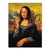 RLJHG DadaíSmo Arte De La Pared Fumar Creativo Mona Lisa Lienzo PóSter Impresiones Pintura CláSica Salon De Estudio Decoracion Pasillo Cuadros De La Pared 40x60cm Sin Marco