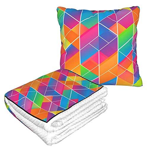 Manta suave 2 en 1 de color arco iris, manta de forro polar, para sofá, cama, sofá, oficina, para hombres y niños