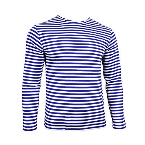 Camiseta Telnyashka del paracaidista militar ruso –rayas azules de manga larga Light Blue and White Stripes extra-large