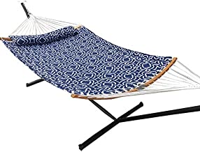 Love Story 2 Person Chain Hammock Include 12.5FT Free Standing,Prevention Fall Curved-Bar Bamboo & Detachable Pillow, Outdoor &Indoor Multi-Purpose , Dark Blue
