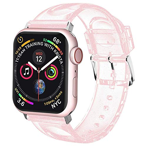 watch with pink bands iiteeology Compatible with Apple Watch Band 38mm 40mm, Women Glitter Soft Silicone Sports iWatch Band Strap for Apple Watch Series 6/5/4/3/2/1/SE - 38mm 40mm Pink/Silver