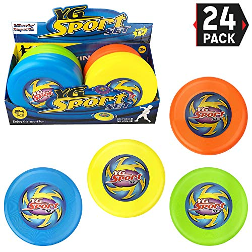 Liberty Imports Value Bundle  24 Pcs Outdoor Flying Sports Discs Plastic Toss Game Toy for Kids and Adults 4 Colors