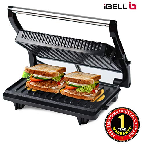 IBELL Hold The World. Digitally! SM515 Panini Grill Sandwich Maker with Floating Hinges ( 750 W,...