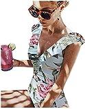Traje de baño de una pieza para mujer, para la playa, cuello en V, favorecedor, cuerpo entero, a rayas con flores, bikini para mujer, sujetador push up Prensa L