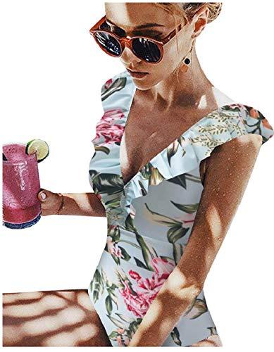Bañador de una sola pieza para mujer con cuello en V, diseño de flores, para el baño o la playa Prensa XXL
