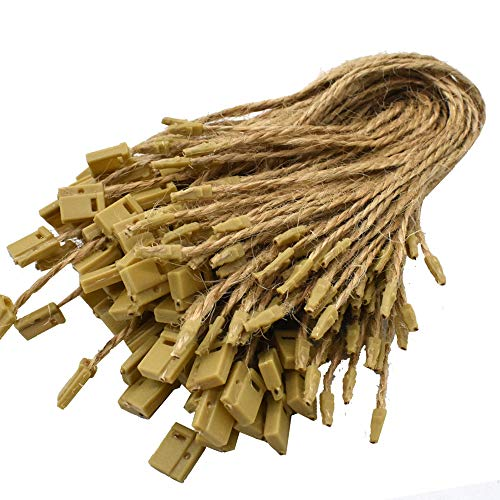 Renashed 500 Pcs Hemp Twine Hang Tag String Snap Lock Pin Loop Fastener Hook Ties Easy and Fast to Attach