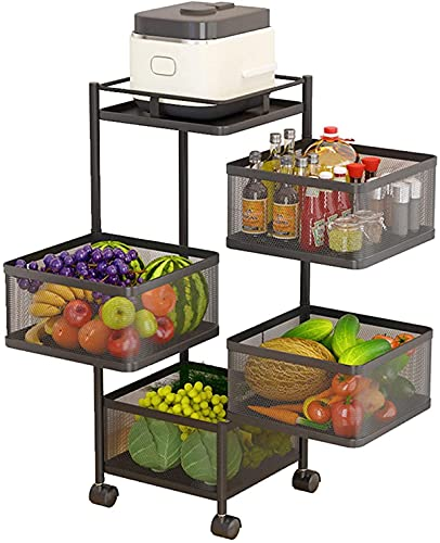 Estante de almacenamiento de cocina para frutas y verduras, 4 niveles, giratorio para verduras, estante de almacenamiento de cocina de varias capas, cesta de frutas con ruedas, para frutas y verduras