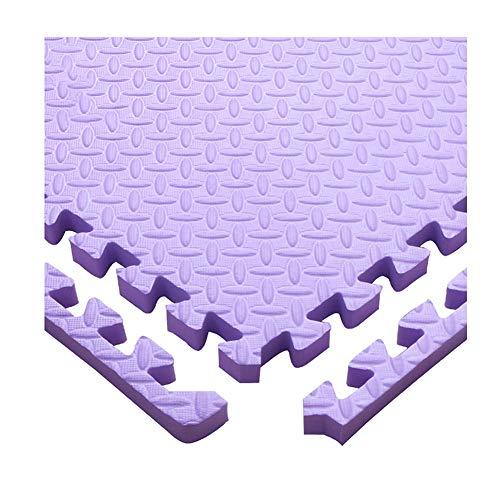 AWSAD Dalles en Mousse avec Bordure Santé Confortable Gym Balcon Tapis De Bébé, 11 Couleurs, 30x30x1.2cm (Color : Purple, Size : 4-Tiles)