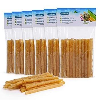 Nobleza - Friandises pour Chien, 120 Pièces bâtonnets à mâcher Chien, 125mm x 10mm, Stick Dentaire, Riche en protéines, pauvre en matières Grasses, 6 sachets de 20 Sticks