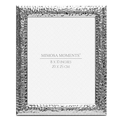 MIMOSA MOMENTS Hammered Metal picture Frame (Silver, 8x10)