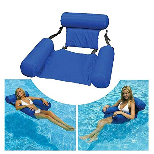 MandoPon Water Chair Adults Inflatable Swimming Pool Float Lounge Comfortable Lake Floating Chairs Pool Seats Lounger Portable Lazy Water Floats Bed for Summer Travel (2 Pcs)