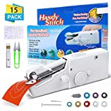 CAMTOA Handheld Sewing Machine, Mini Portable Cordless Sewing Machine, Quick Handy Electric Repairing Stitch Tool for Fabric, Clothing, Kids Cloth, Home Travel Use(White)