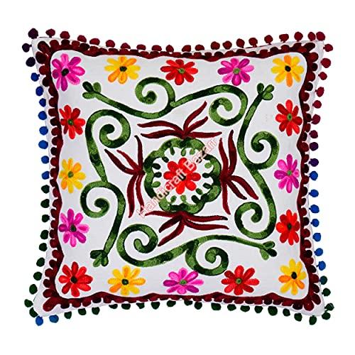 Handicraft Bazarr Funda de almohada con bordado floral Pom Pom Suzani Cojín Proterctors hecho a mano de algodón funda de almohada vintage