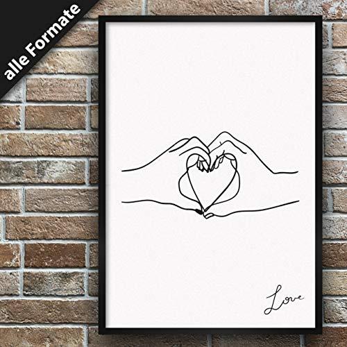 Papieren smederij Premium poster met motief, stijlvolle wanddecoratie voor de fotolijst in vele formaten DIN A2 (42cm x 59,4cm) Dessin: Love 3 - Hand Heart