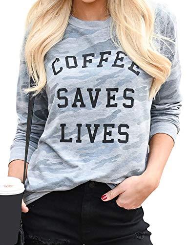 OUNAR Womens Coffee Camo Sweatshirt Funny Mom Graphic Shirt Saying Tee