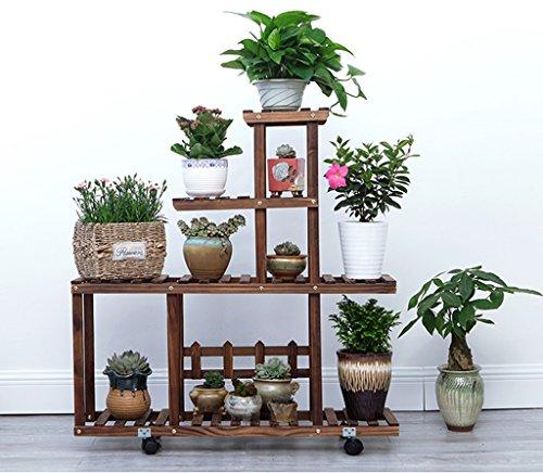 Présentoir à motifs multicouches à étagères en bois multicolore étagère à bois salon de fleurs salon de jardin intérieur (Couleur : Marron)