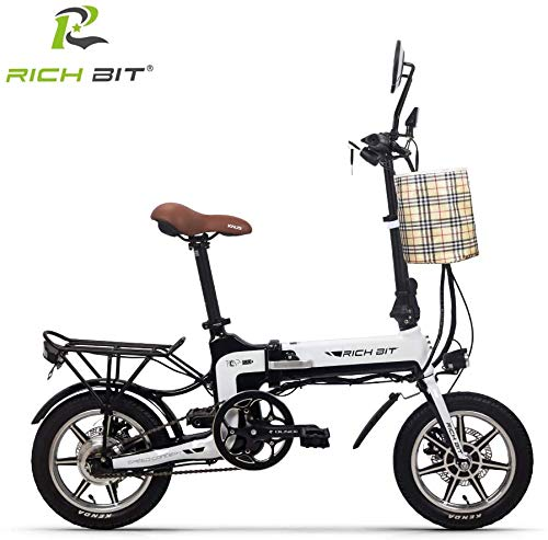 RICH BIT Bicicleta eléctrica Plegable Bicicleta Plegable de 14 Pulgadas, Bicicleta eléctrica Plegable de la Ciudad Bicicleta eléctrica de cercanías 36V * 12Ah con Acelerador y LCD Inteligente Unisex