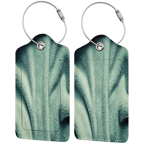 FULIYA Juego de 2 etiquetas de equipaje seguras de alta gama de cuero para maletas, tarjetas de visita o bolsa de identificación de viaje, toallas, luz, superficie