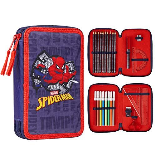 Marvel Spiderman Astuccio Scuola 2 Scomparti Con Matite Colorate, Gomma Da Cancellare,...
