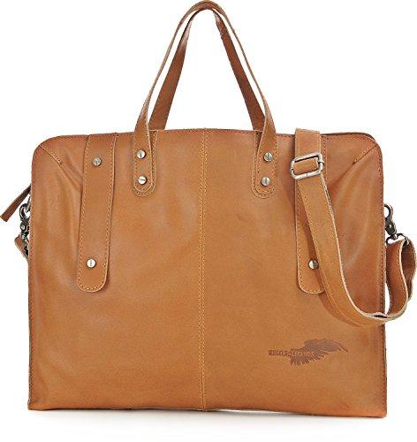 REBELS & LEGENDS, Unisex Handtaschen, Aktentaschen, Messenger-Bags, Messenger, Umhängetaschen, Leder, 38,5 x 33 x 4 cm (B x H x T), Farbe:Cognac