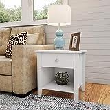 Lavish Home (White) End Drawer-Sofa Side Table with Storage Shelf