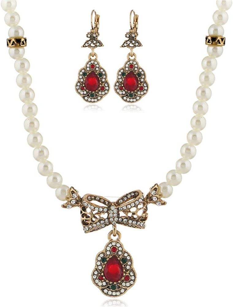 Urns Ashes Funeral Women's Jewelry Set Bridal Bridesmaid Gifts Jewellery Sets For Women Neckle And Earring Set Drop Pearl Neckle Earrings Set Wedding (Color : Green, Size : Free size),Size:Free size,C