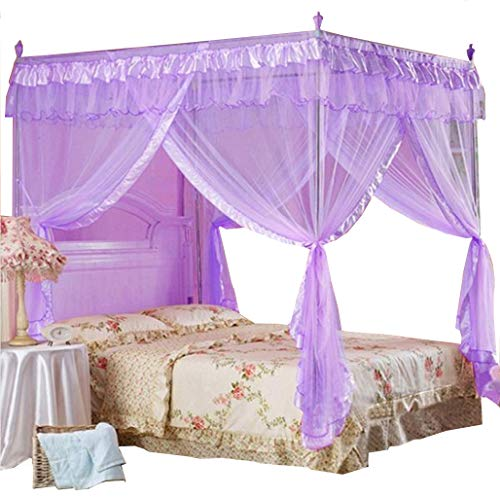 Mengersi Betthimmel mit 4 Ecken, Moskitonetz, Bettvorhang, Schlafzimmer-Dekoration (lila)