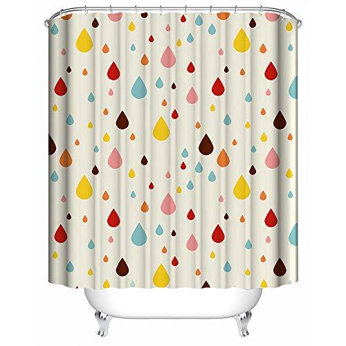Duschvorhang, Regentropfen, 152,4 x 182,9 cm, Polyester, wasserdicht, Schwarz / Rot
