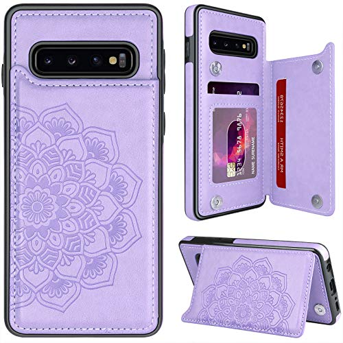 """MMHUO for Samsung Galaxy S10 Case with Card Holder,Flower Magnetic Back Flip Case for Samsung Galaxy S10 Wallet Case for Women,Protective Case Phone Case for Samsung Galaxy S10 6.1"""",Purple"""
