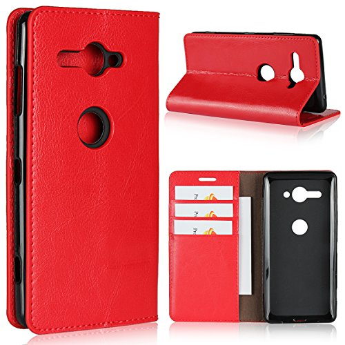ソニー Sony Xperia XZ2 Compact SO-05K ケース 手帳型 Zouzt 本革レザー 財布型カバー ポケット収納付き 横置きスタンド機能 二つ折り ベルトなしマグネットなし 軽量 手作り 耐久性 オシャレ レッド