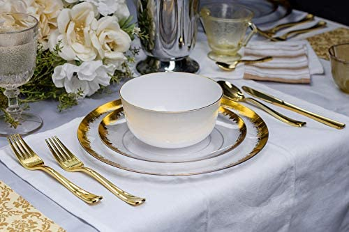 Clear glass plates with gold trim _image4