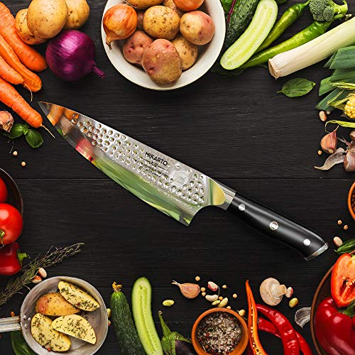 Japanese Chef Knife, 8 Inch Gyuto, Professional Grade - Damascus Stainless Steel Chef's Knife with Hammer Finish - Ultra Sharp, High Carbon Kitchen Knives - Quality, All Purpose, Precision cutting.