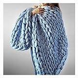 Lavorata Lana Grossa Coperta, Coperte Ingombranti Maglia con Cavo in Cotone Filato Morbido Fatto Mano Blu 200x200cm